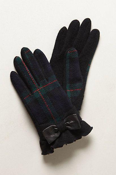 Plaid bow gloves