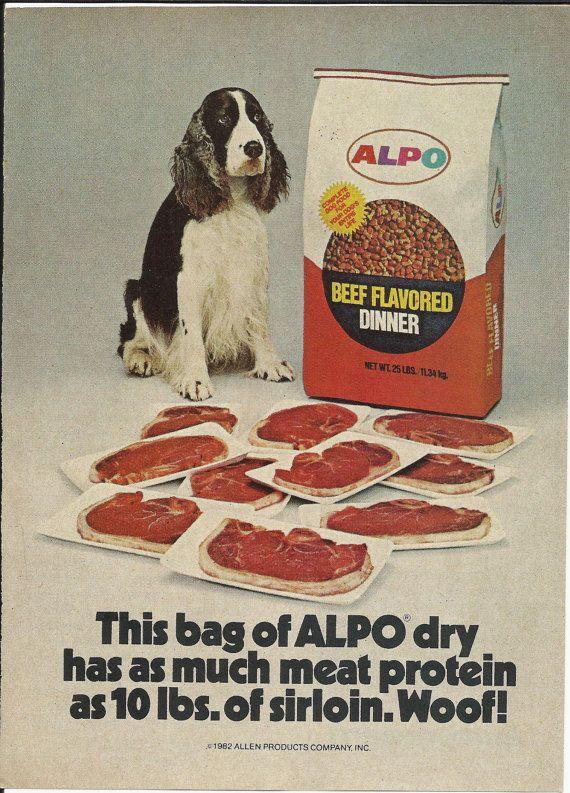 Alpo Dog Food Original 1982 Vintage Print Ad (baaaaaad fib-but I would frame it bc it's awesome)