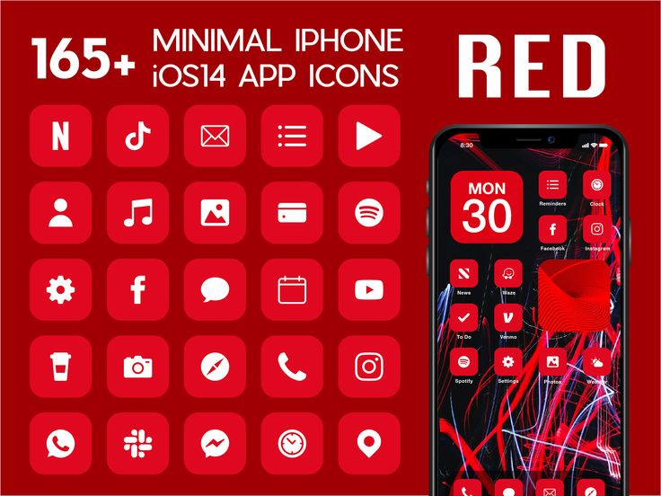 Ios Red App Icons 230 Bright Red Minimal Ios 14 Modern Icon Etsy App Icon Themes App Iphone App Design