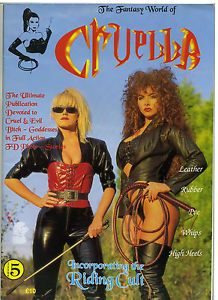 Cruella and Goddess are two UK produced magazines that focus on Femdom scenarios. The format is mostly text driven stories illustrated with posed photos. The stories can be rather hardcore in terms of severe punishments but the pictures, and the outfits worn by the models, are always extremely striking and authentic. Back issues can usually be found on Ebay