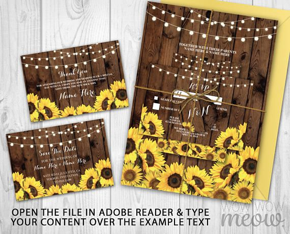 Wedding Template Printable Package > Rustic Wood & Sunflower Collection > INSTANT DOWNLOAD customizable printable set.  > Edit the text instantly at home using the FREE program Adobe Reader. > Print at home, online or at a print shop.  --------------------------------------- INCLUDED IN