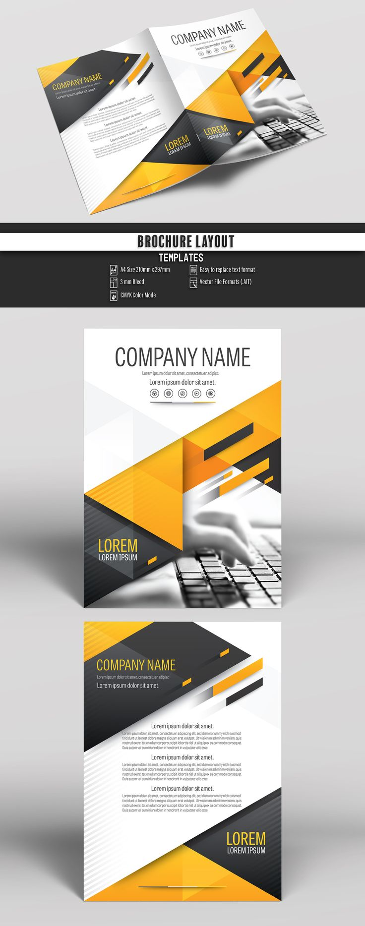 Brochure Cover Layout with Gray and Orange Accents 25. Buy this stock template and explore similar templates at Adobe Stock  #Brochure #Business #Proposal #Booklet #Flyer #Template #Design #Layout #Cover #Book #Booklet #A4 #Annual #Report  Brochure template   Brochure design template   Flyers   Template   Brochures   Flyer Background   Background design   Business Proposal   Proposal Design   Booklet   Professional   Professional - Proposal - Brochure - Template