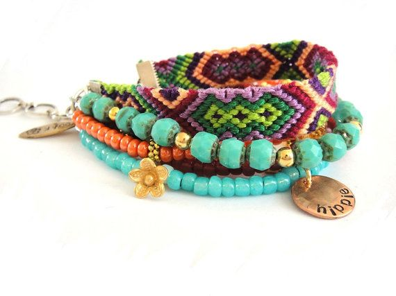 Bohemian gypsy bracelet in turquoise and tangerine  by OOAKjewelz, €78.00