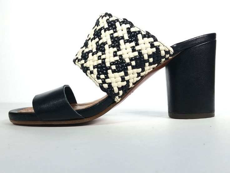 $400 CHIE MIHARA 39 BLACK WHITE WOVEN LEATHER SANDALS *EXCELLENT* SZ 8.5 #ChieMihara #Mules