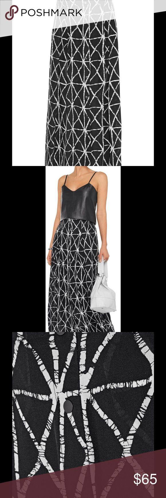 A.L.C. Jacob Silk Maxi Skirt New ALC Black and white maxi skirt with elasticized waist, pleats, dual seam pockets at side, size 6, 100% silk. Waist approx.32, Hip approx. 47, Length approx. 44 A.L.C. Skirts Maxi