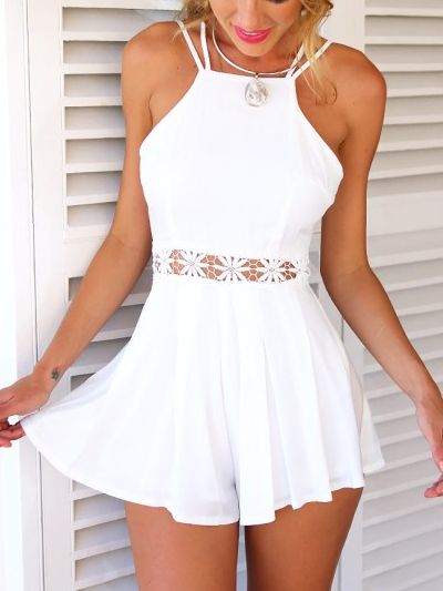 White Lace Waist Backless Romper Playsuit