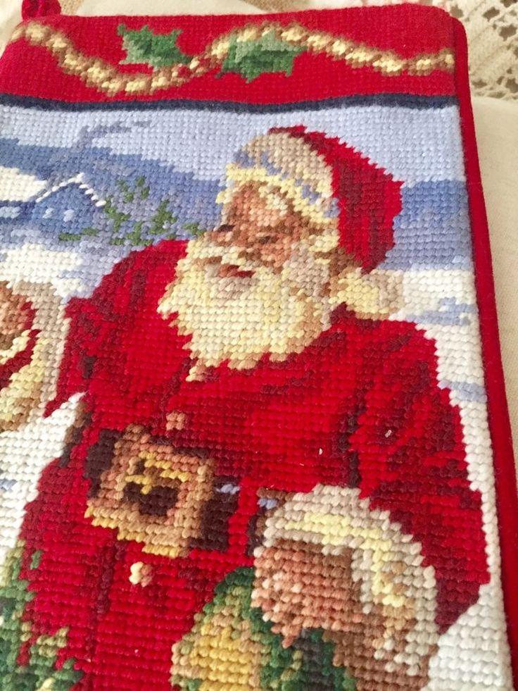 New Handmade Needlepoint Christmas Stocking Old World Santa 🎅🏻  | eBay