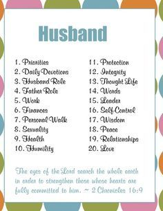 Guide to use in prayer: Husband. (link leads to a printable of this page).