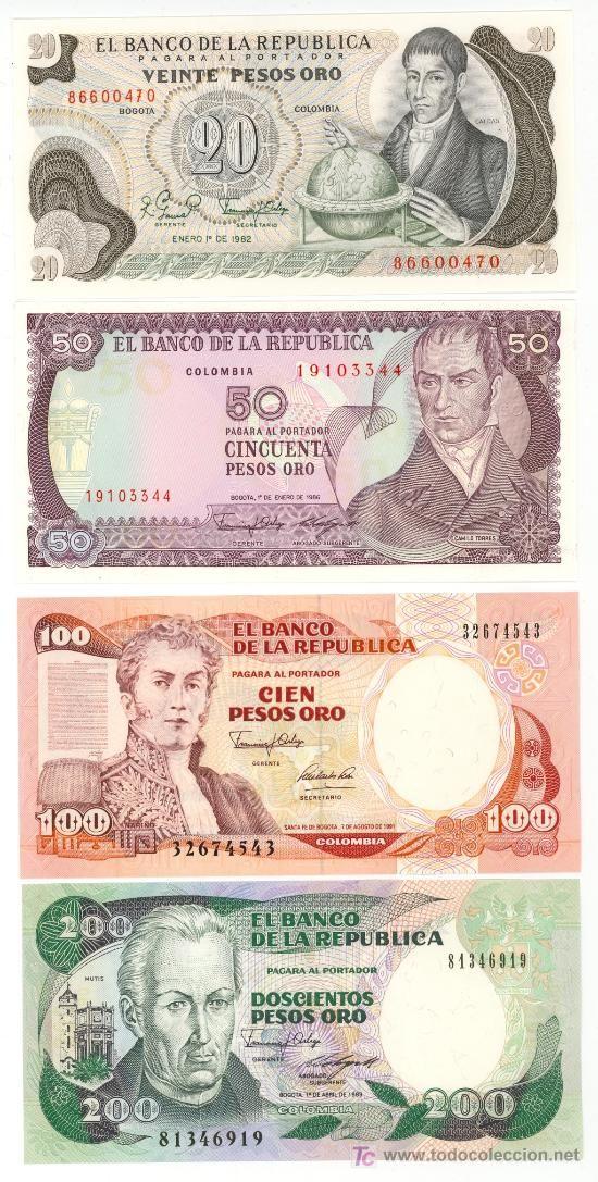 COLOMBIA: 20 a 200 pesos años 70/90 - ver fotos diseños reverso @ PLANCHA PERFECTA @ - CLC (Numismática - Notafilia - Billetes Extranjeros)