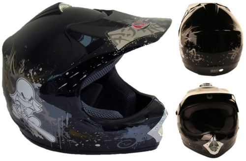 Childrens-MOTOCROSS-Ninja-Crash-Helmet-BLACK-KIDS-Off-Road-BMX  £29.95