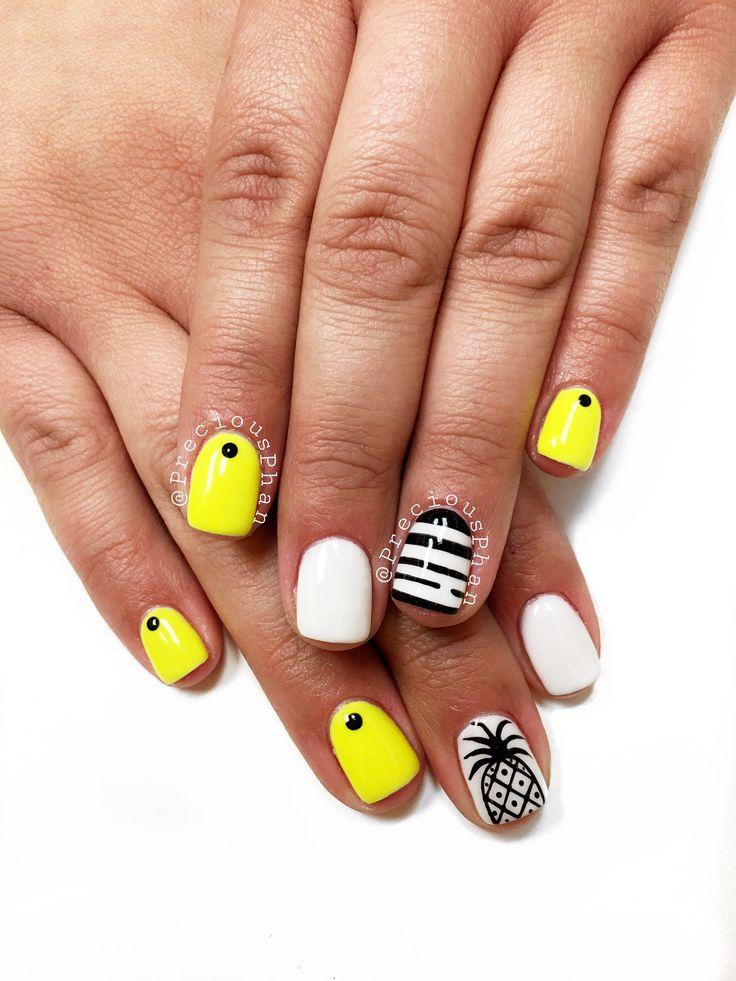 Neon yellow nails. Pineapple nails. Summer nails. # ...