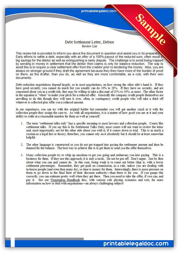 Free Printable Debt Settlement Letter Debtor Legal Forms