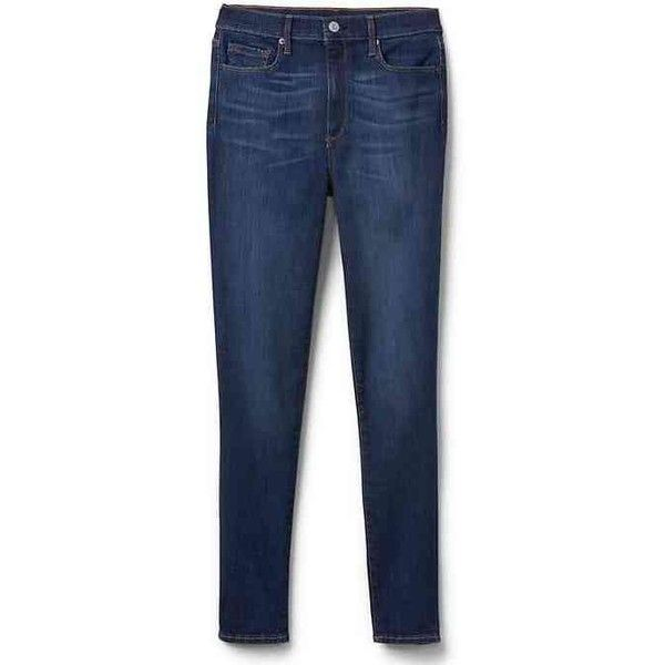 Gap Women Super High Rise Sculpt True Skinny Jeans ($60) ❤ liked on Polyvore featuring jeans, blue black, petite, tall skinny jeans, high-waisted jeans, petite skinny jeans, denim jeans and stretchy jeans