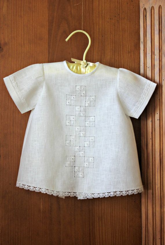 Unisex White Day Gown for Baby  03 months  White  by VintageJoint