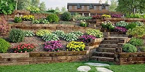 Railroad ties used in a tiered landscape