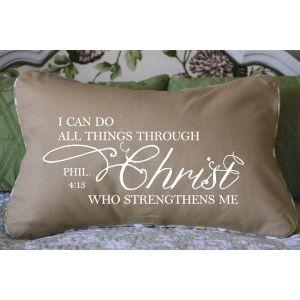 Tan Phil 4:13 Pillow