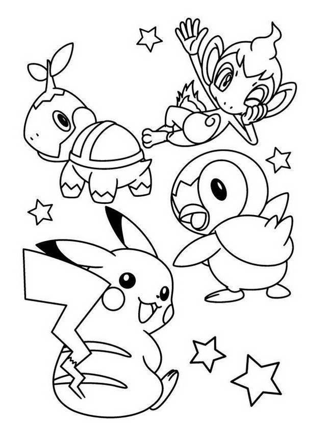 Kleurplaat Chimchar Turtwig Piplup Pikachu Pokemon Coloring Page Pikachu Coloring Page Pokemon Coloring Sheets Pokemon Coloring Pages
