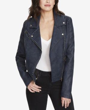 William Rast Audacious Alexa Studded Faux-Leather Jacket - Blue XXL