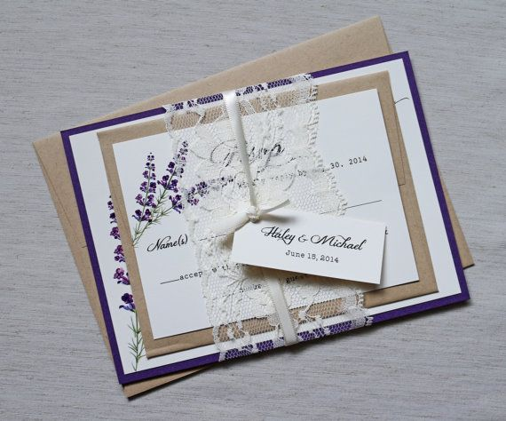 Lavender Lace Wedding Invitations, Elegant Wedding Invitation, Rustic Wedding Invitation, Lilac, Purple, Plum, Shabby Chic Invitation. Features beautiful vintage lilac design with lace wrapped around the invitation, tag tied with bakers twine Printed on white card stock and layered on kraft card stock, see last photo for invitation mat colors Complete Color Customization, including the design and card stock   THIS IS FOR A SAMPLE SET  -------- WHAT IS INCLUDED --------  Package includes…