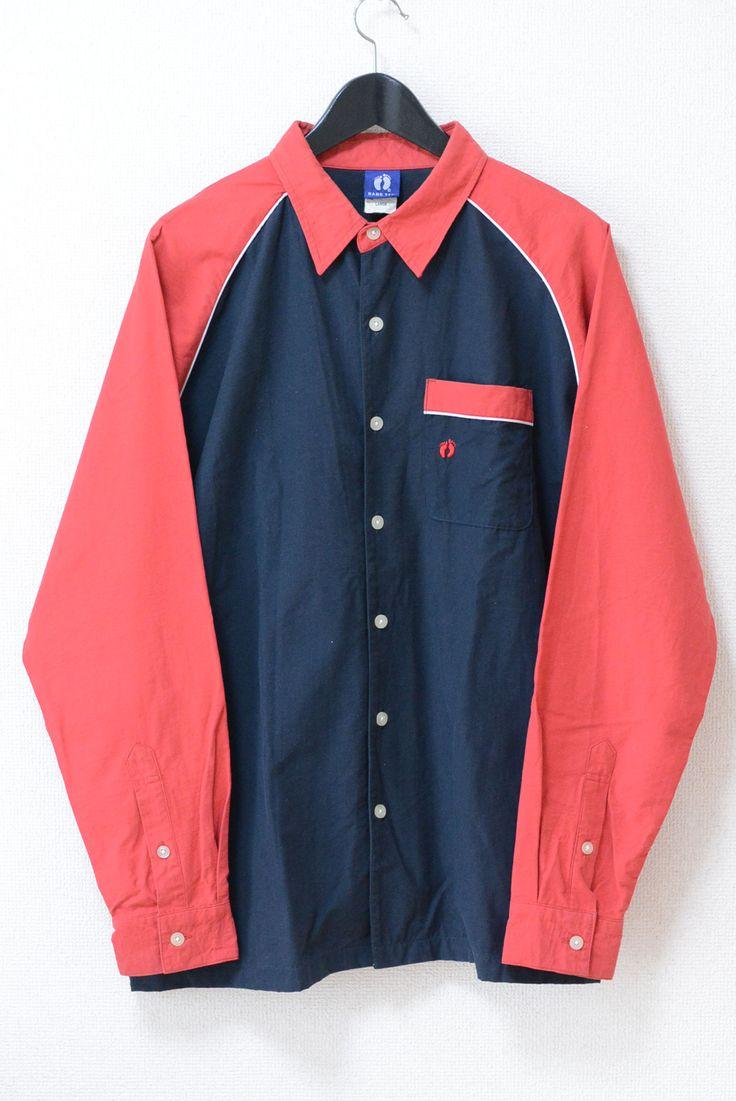 USED&VINTAGE HANG TEN 90's カラーブロックパイピングシャツ NAVY×RED ¥1,500(TAX IN)