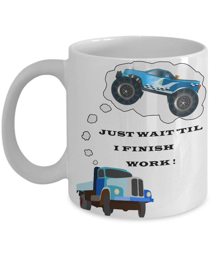 Monster Truck Coffee Mug, 'Just Wait', Gift for Monster Truck Enthusiast, Double-Sided Print, Two Sizes by PortunaghDesign on Etsy