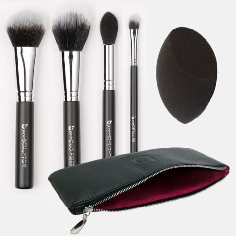 5 Piece pro Contouring & Highlighting Kit with Makeup Brush Case