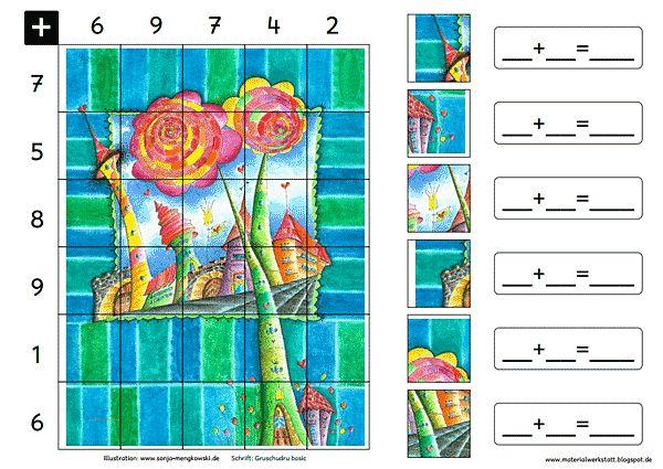 Grundschule Rechenspiele Zahlenraum 20 Blumen