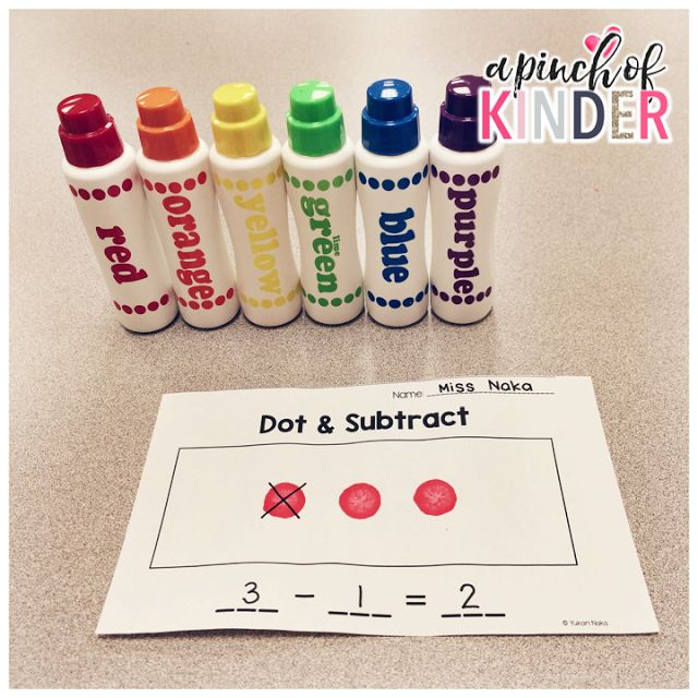 A Pinch of Kinder: Subtraction Centres - Dot & Subtract {FREE recording sheet}