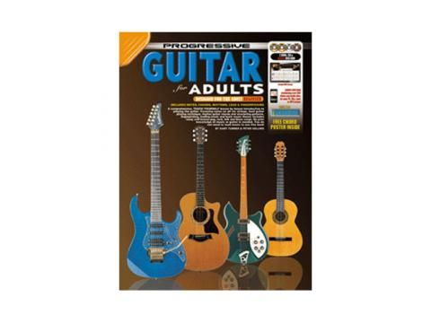 Progressive Guitar for Adults - 2 DVD CP11804 - BC Wholesalers An indispensable self-teaching, learning and reference manual for the adult beginner. 52 Full colour, step-by-step lessons to learn to play any style of Guitar. No prior knowledge of music or the Guitar needed. Contains 2 DVDs, 1 CD and 1 DVD-ROM. Download audio and video lessons to a computer or MP3 player. #guitar