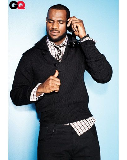 Lebron James    Sweater, shirt, and tie by Tom Ford. Jeans (his own) by Rocawear.