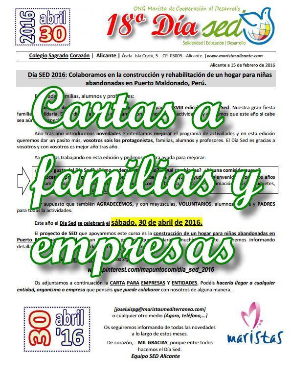 Cartas para familias, voluntarios y EMPRESAS que deseen colaborar en el Día Sed 2016
