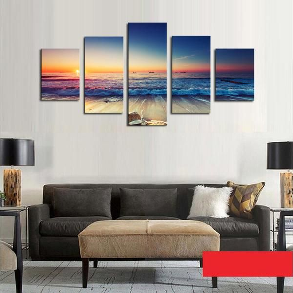 Rolling Beach Sunset - 5 Panel Canvas