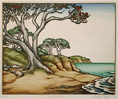 Sand and Sea - Mary Taylor NZ - fine art etchings - limited edition - hand coloured