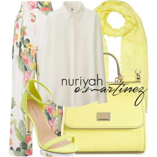 Hijab Outfit by Nuriyah O. Martinez Uniqlo evening blouse €56 - uniqlo.com Matthew Williamson high rise pants €390 - theoutnet.com Heels stiletto €25 - newlook.com Dolce Gabbana yellow tote €1.220 - farfetch.com John Lewis yellow scarve €31 - johnlewis.com