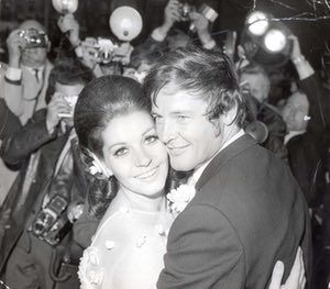 The marriage of Roger Moore and Luisa Mattioli at Caxton Hall in London on 11 April 1969