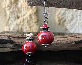 Pendientes de perlas de vidrio cerámica defendió y bohemio de plata macizo-fruta