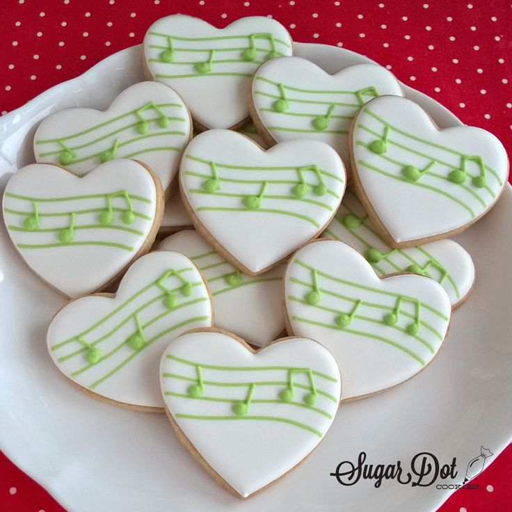 Sugar Dot Cookies: Music Note Heart Cookies
