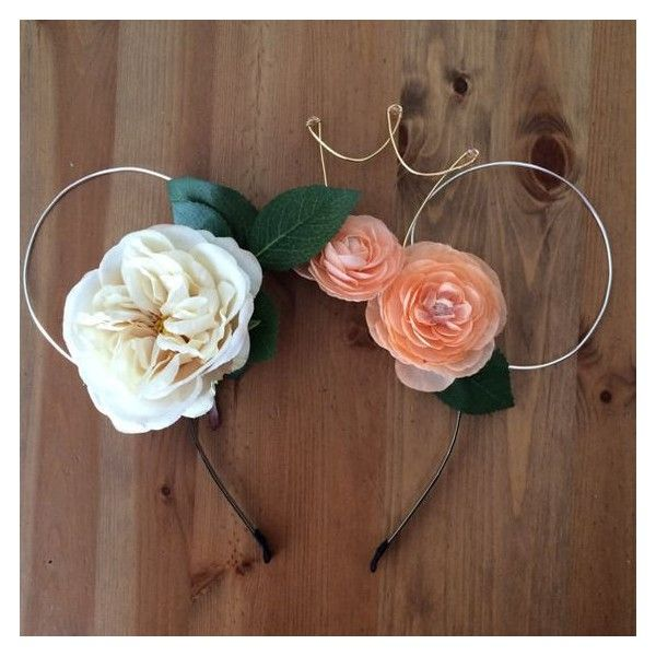 Wire mouse ears, mickey ears, wire ear headband, flower headband,... ❤ liked on Polyvore featuring accessories, hair accessories, flower crowns, head wrap headband, headband tiara, headband crown and tiara headband