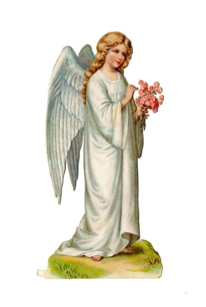 Alte Oblaten Glanzbilder Scraps Engel mit Blumenstrauß 12,5cm ...