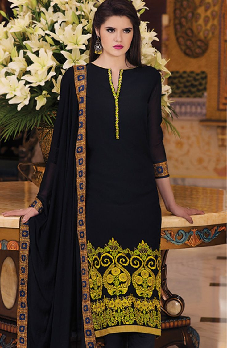 Revel in the exotic vogue by wearing this black salwar kameez dupatta set. Tailored from soft and lightweight fabrics like georgette, this set impresses with profound ethnic artistry through its detailed embroidery. Featuring contemporary digital print on the back, this gorgeous unstitched set is a must buy!