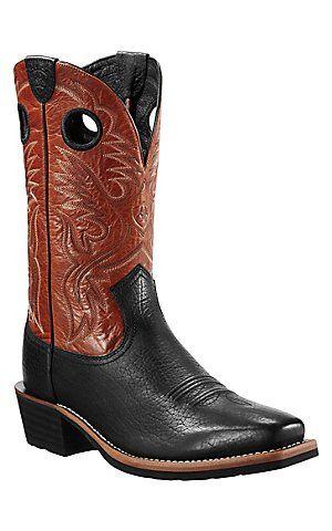 Ariat® Heritage Roughstock™ Men's Black Bull w/Orange Top Square Toe Western Boots | Cavender's Boot City
