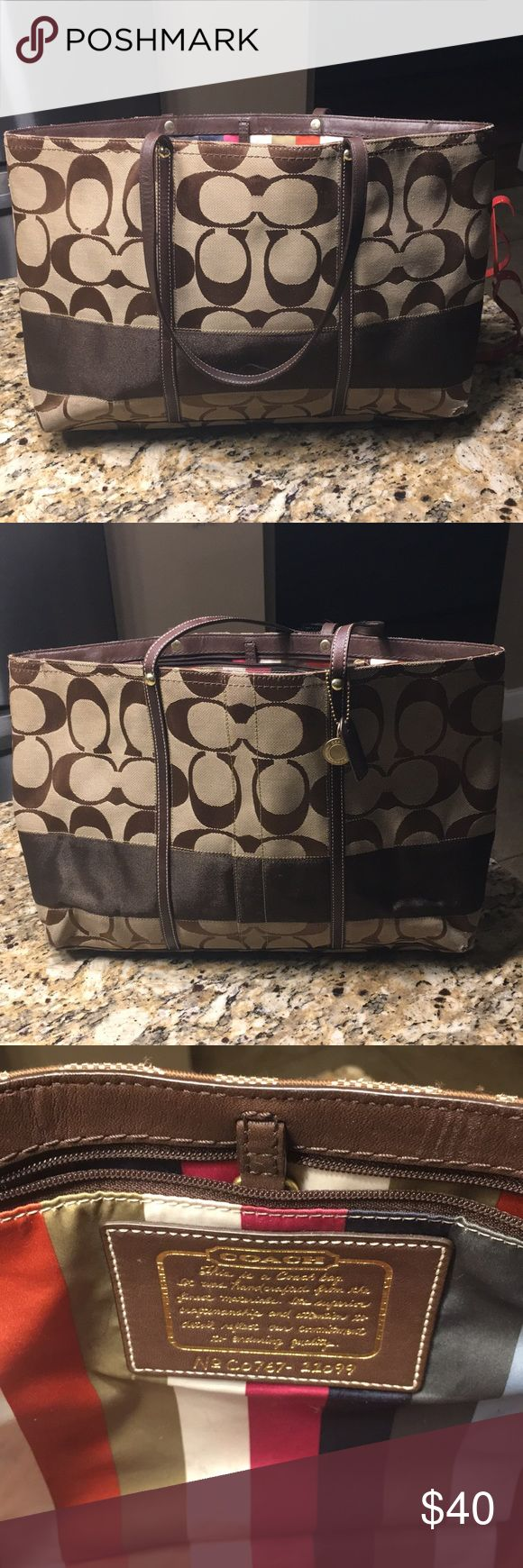 Auth Coach Tote Bag Coach Tote. Used. Has some pen marks on the inside and light fraying. Coach Bags Totes
