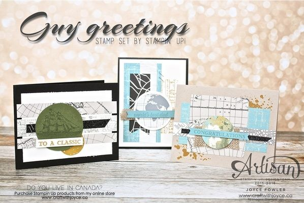 {Going Places} designer series paper, along with the {Guy Greetings stamp set} and the {Going Global stamp set} by Stampin' Up | www.craftwithjoyce.ca | by Joyce Fowler