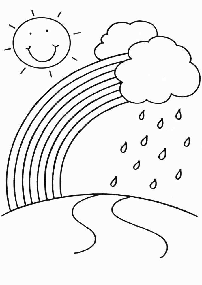 Rain Coloring Page For Kindergarten Kindergarten Coloring Pages