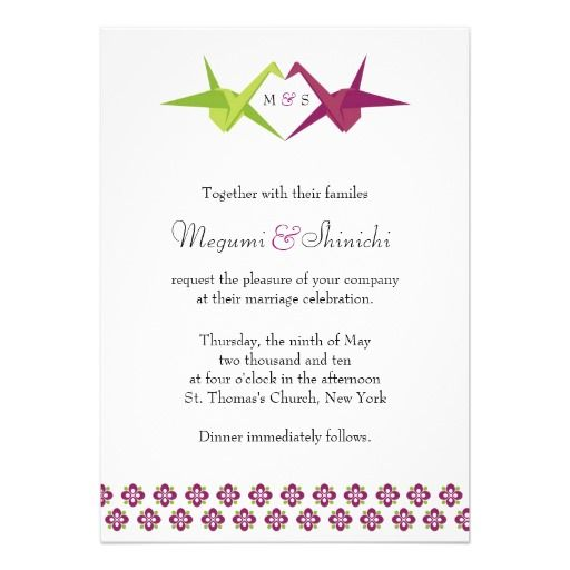 best images about wedding crane on   origami birds, invitation samples