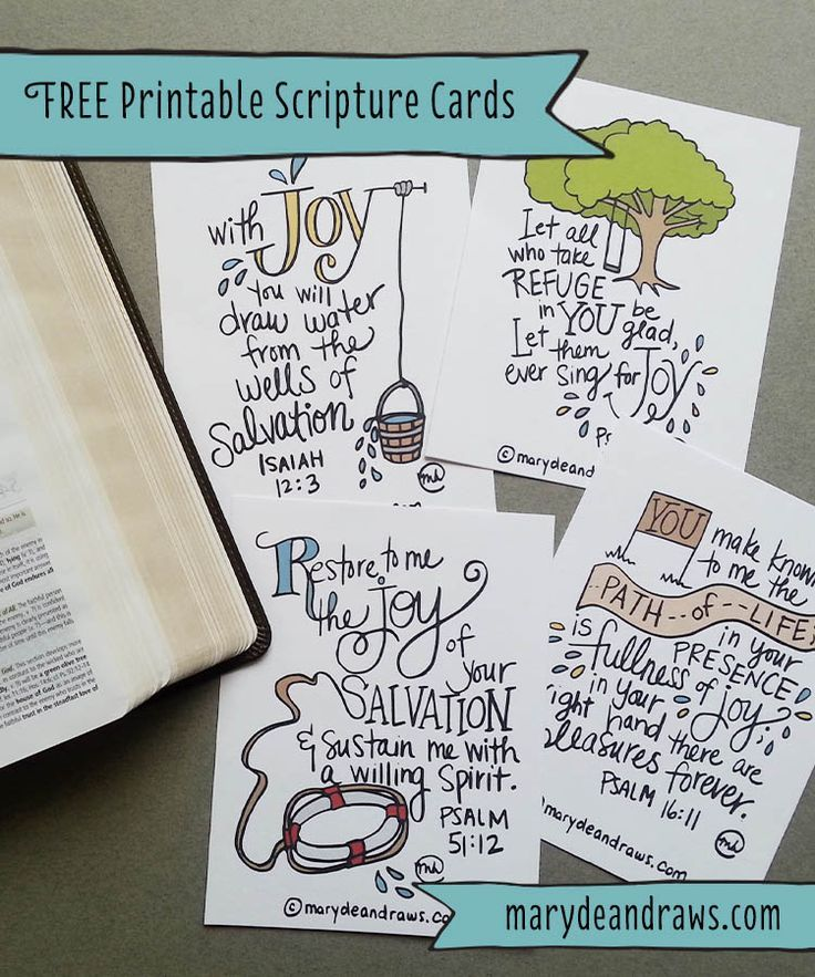 Marydean Draws free Printable Joy Scripture Cards. Printable illustrated Bible memory verse cards.