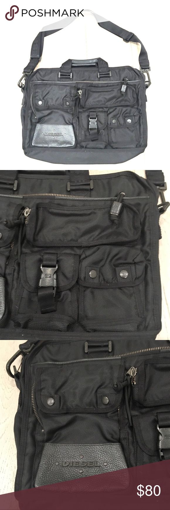 DIESEL Black Laptop Messenger Bag Preloved Diesel black messenger bag. Tons of compartments to keep you organized on the go. Padded compartment can fit a laptop or iPad. Only worn twice. EUC (see photos). Smoke-free home. Sorry no trades. Bundle and save 10%. Offers accepted. Diesel Bags Laptop Bags