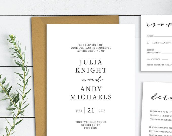 Minimalist Wedding Invitation Printable