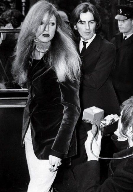31 March 1969. The Harrisons arrive (he dressed in a navy blue suit and she in a crimson velvet jacket) at Walton Magistrates Court to plead guilty to cannabis possession. They were each fined £250 and put on probation for a year.