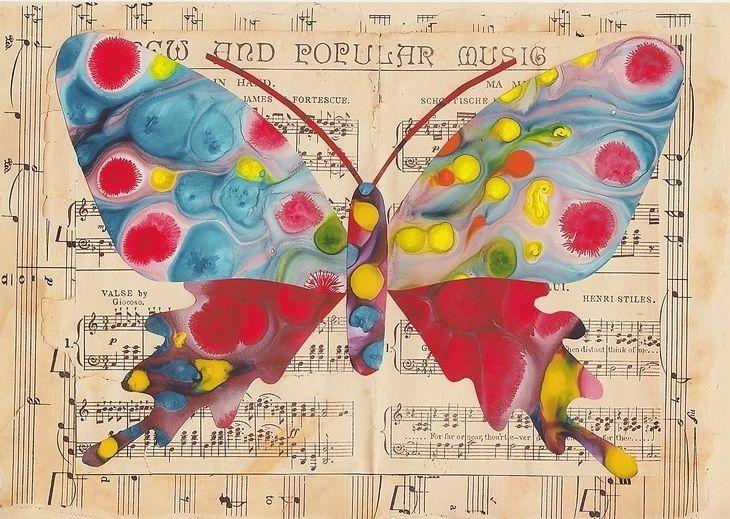 Vintage Sheet Music, Music Prints, Art Inspiration, Vintage Wardrobe, Art Prints, Vintage Sheets, Art Image, Butterflies Art, Butterflies Prints